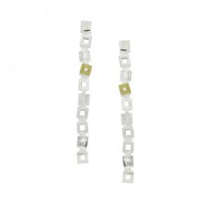 SILVER & GOLD EARRINGS w/ DIAMONDS. E1994LD