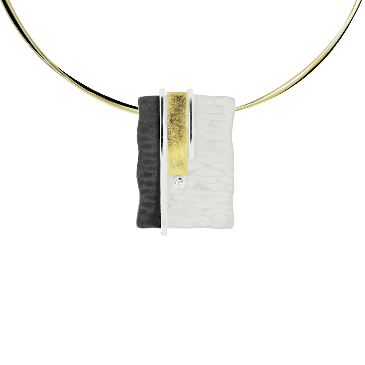 SILVER & GOLD PENDANT WITH DIAMOND.  P1916D