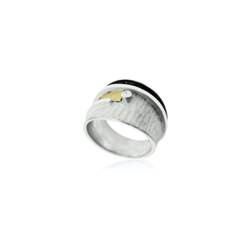 SILVER & GOLD RING WITH DIAMOND.  R1916D