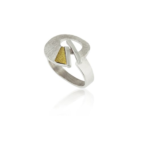 SILVER & GOLD RING.  R1917