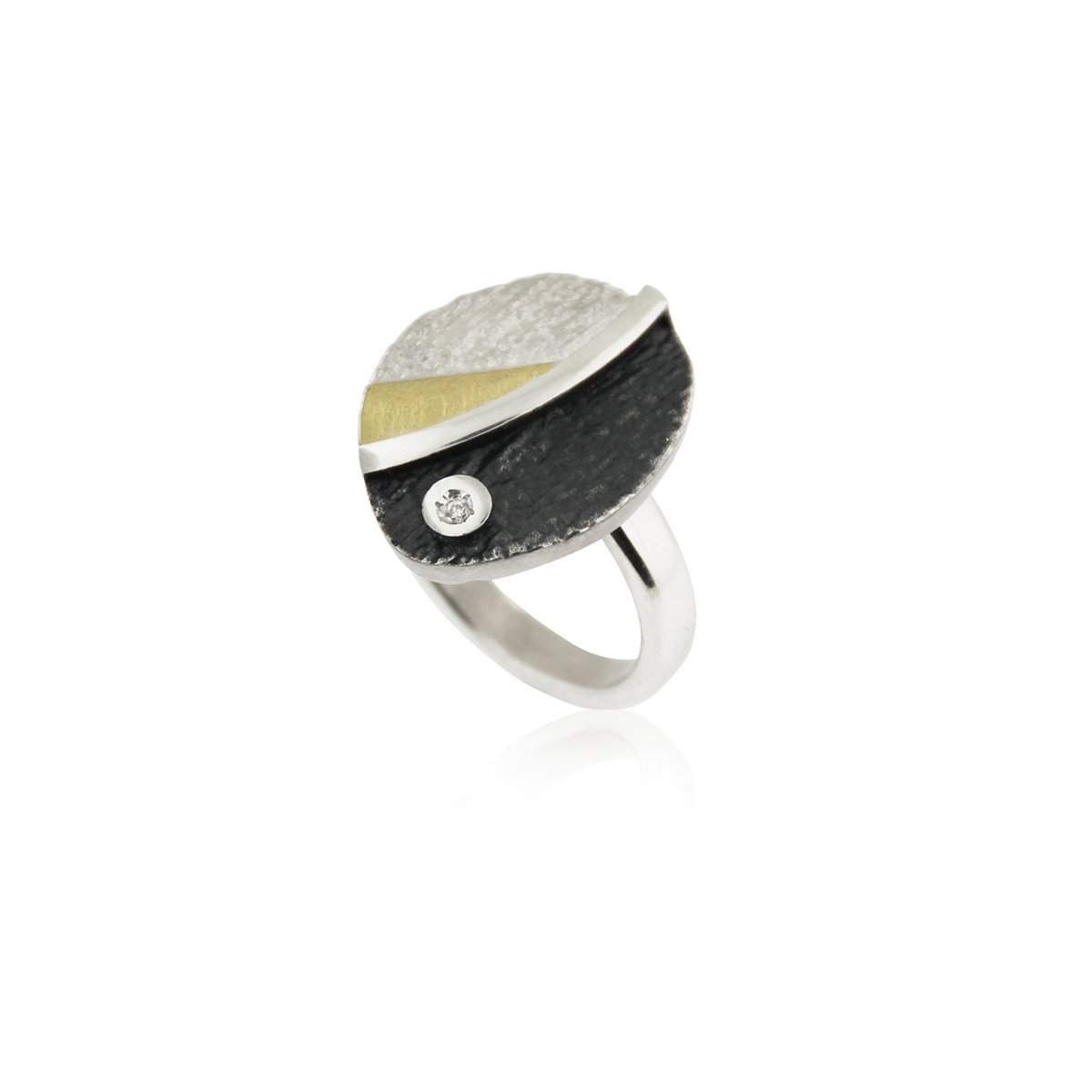 SILVER & GOLD RING WITH DIAMOND.  R1952