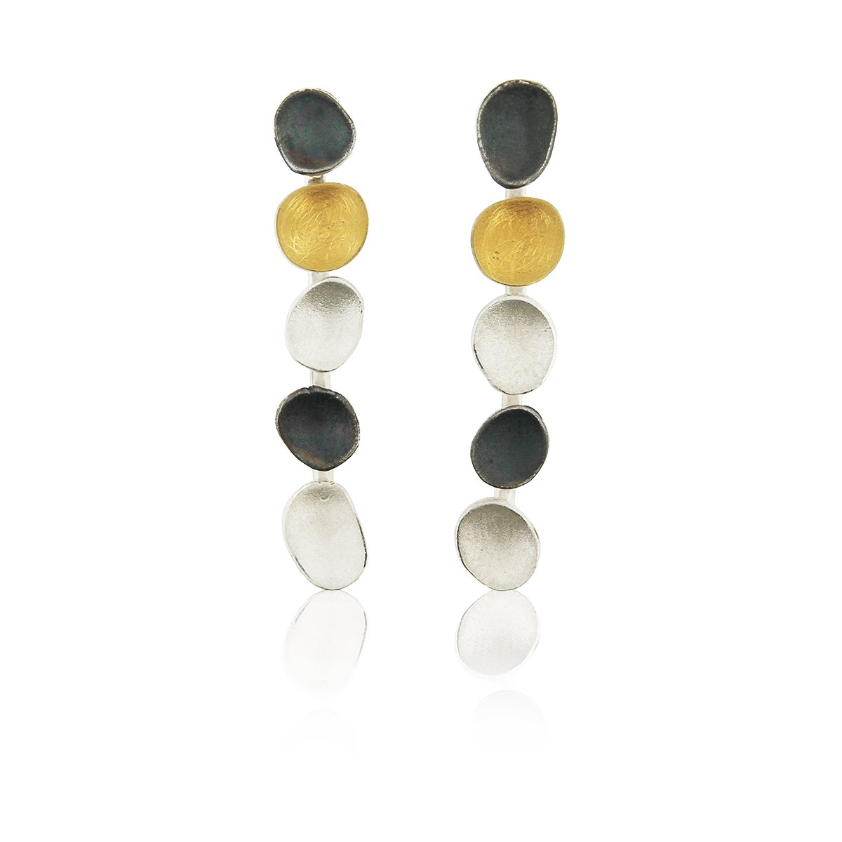SILVER & GOLD EARRINGS. E1516L
