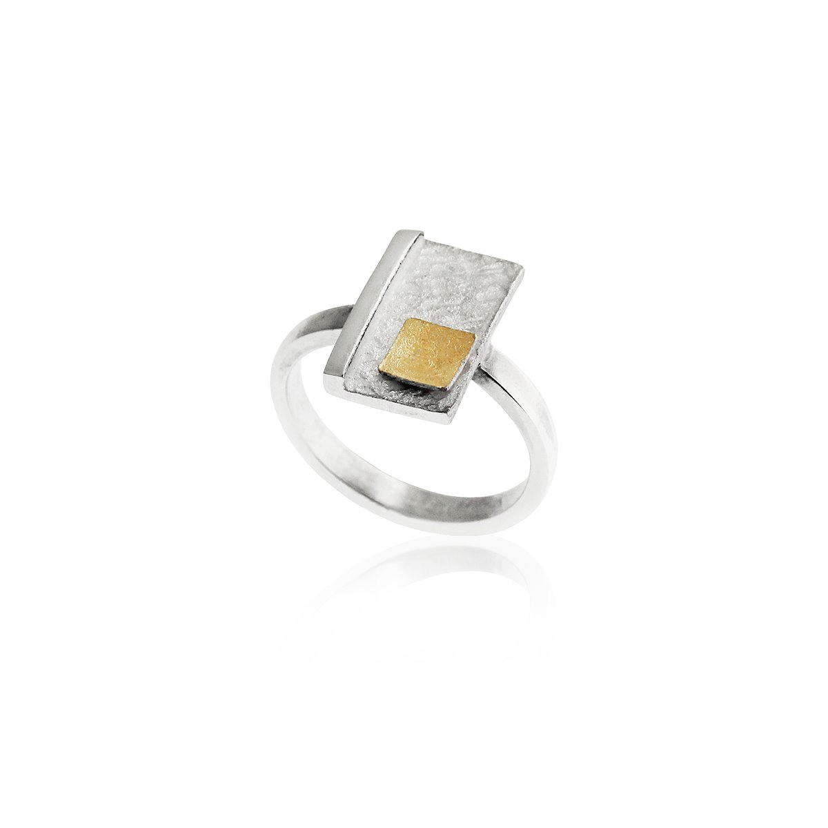 SILVER & GOLD RING. R1520