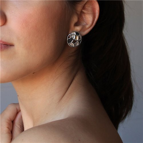 SILVER & GOLD EARRINGS. E1593