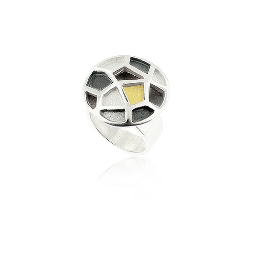 SILVER & GOLD RING. R1593