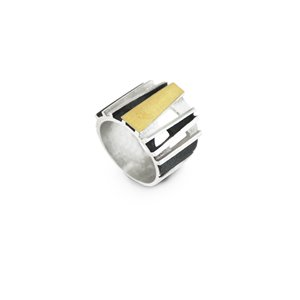 SILVER & GOLD RING. R1628