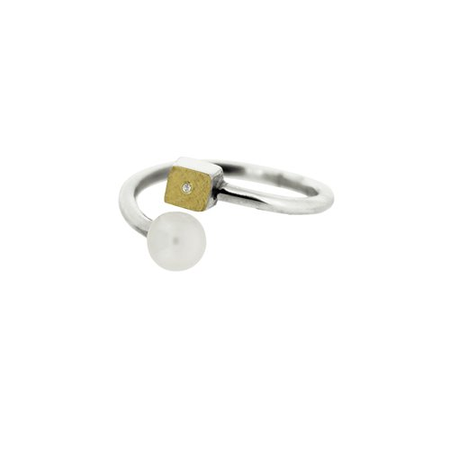 SILVER & GOLD RING w/ PEARL & DIAMONDS. R1742D
