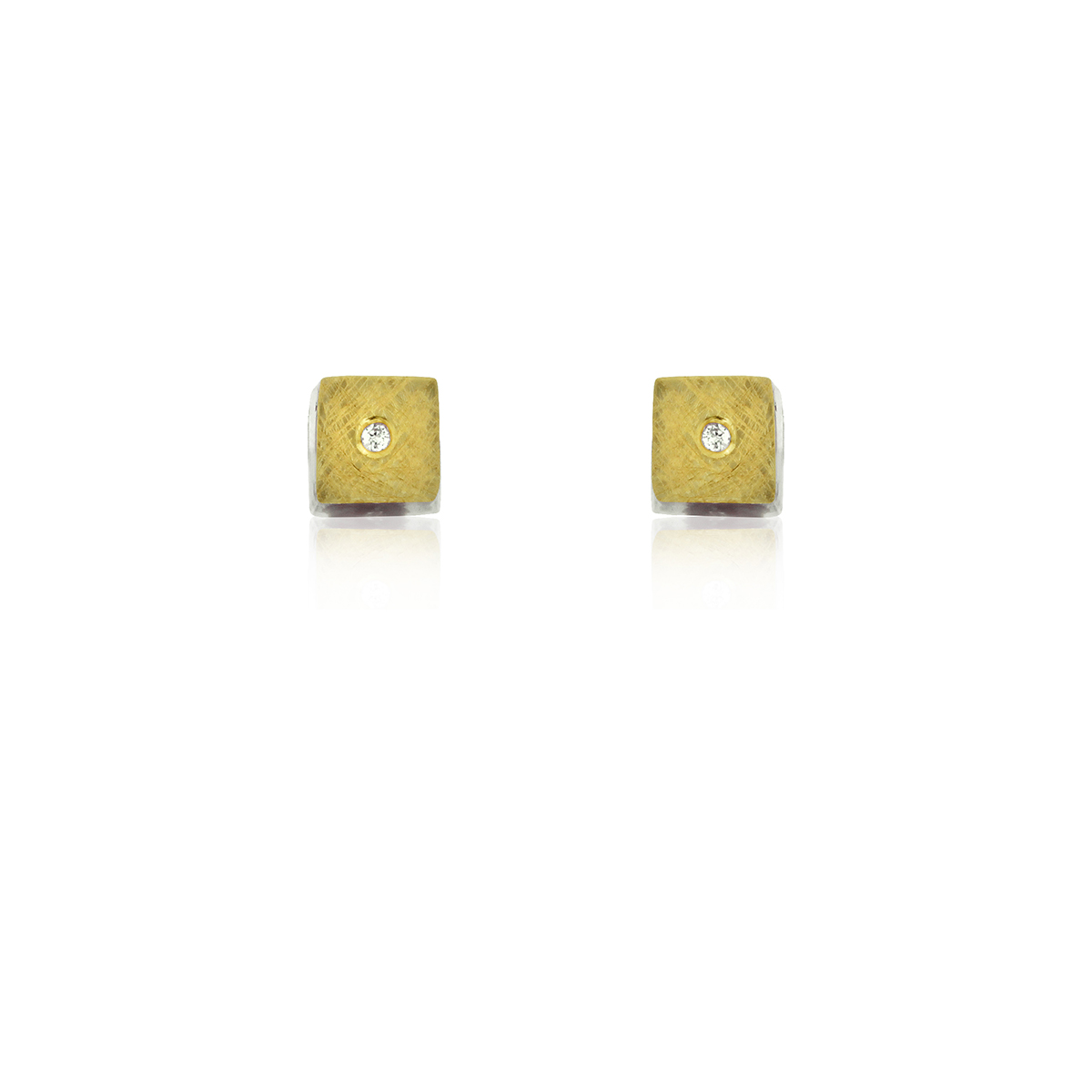 SILVER & GOLD EARRINGS w/ DIAMONDS. E1743D