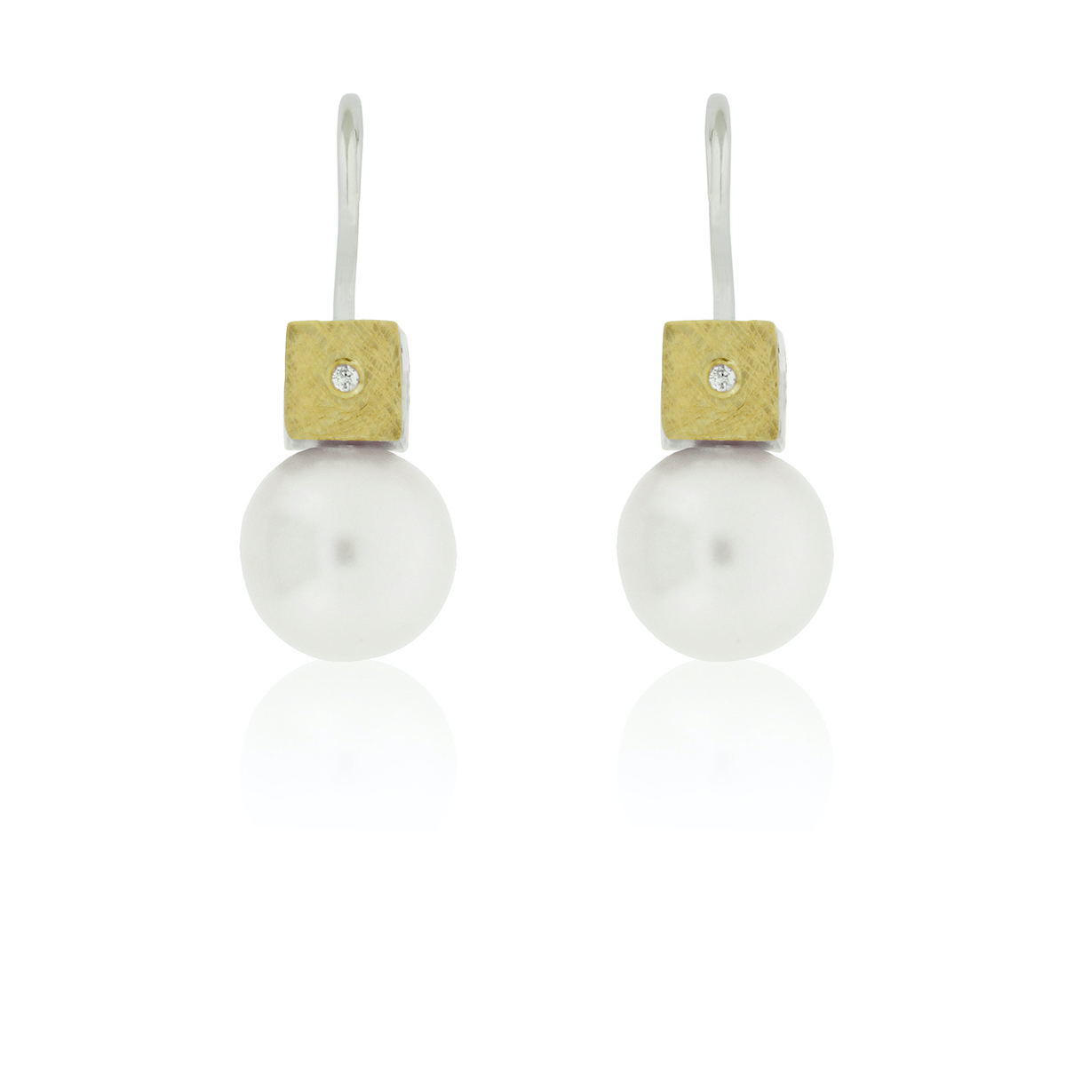 SILVER & GOLD EARRINGS w/ DIAMONDS & PEARL. E1744LD