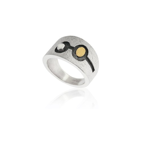 SILVER & GOLD RING . R1754