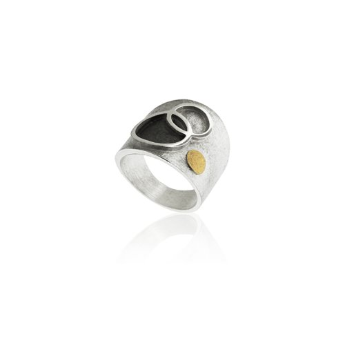 SILVER & GOLD RING . R1757