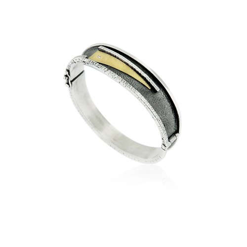 SILVER & GOLD BANGLE WITH DIAMOND