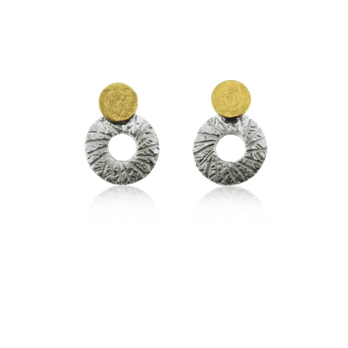 SILVER & GOLD EARRINGS . E1758