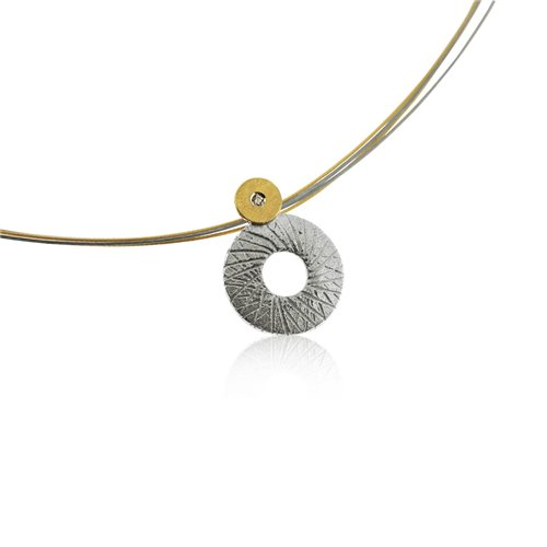 SILVER & GOLD PENDANT w/ DIAMOND. P1758D