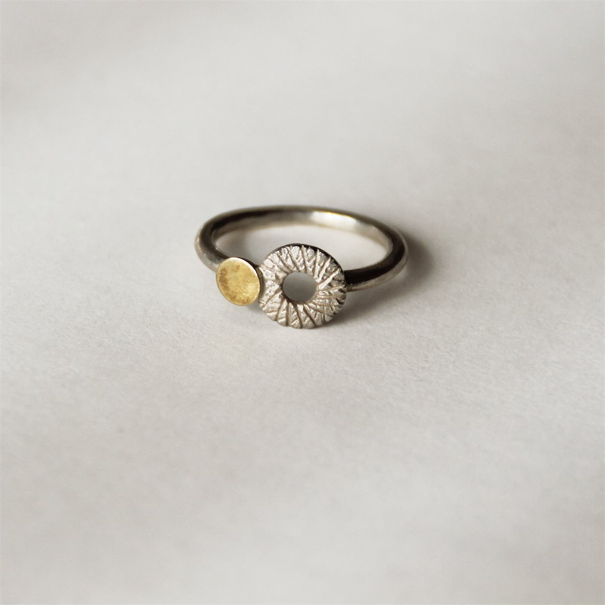 SILVER & GOLD RING . R1758