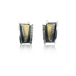 SILVER & GOLD EARRINGS WITH DIAMONDS