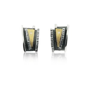 SILVER & GOLD EARRINGS WITH DIAMONDS . E1932D