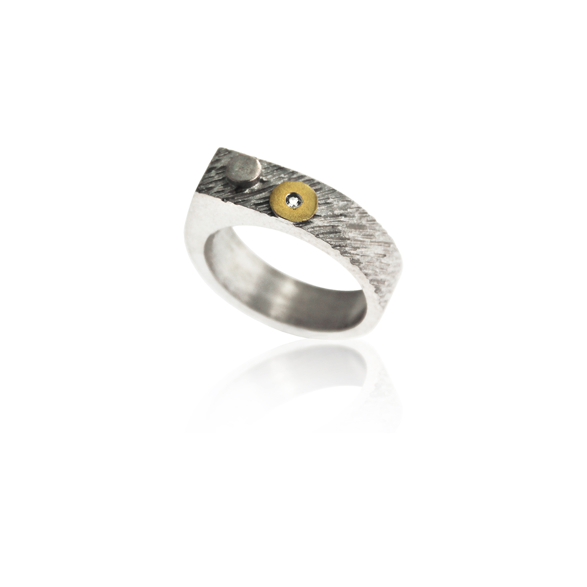 ANELL PLATA I OR AMB DIAMANT. R1760D