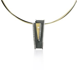 SILVER & GOLD PENDANT WITH DIAMOND. P1932D