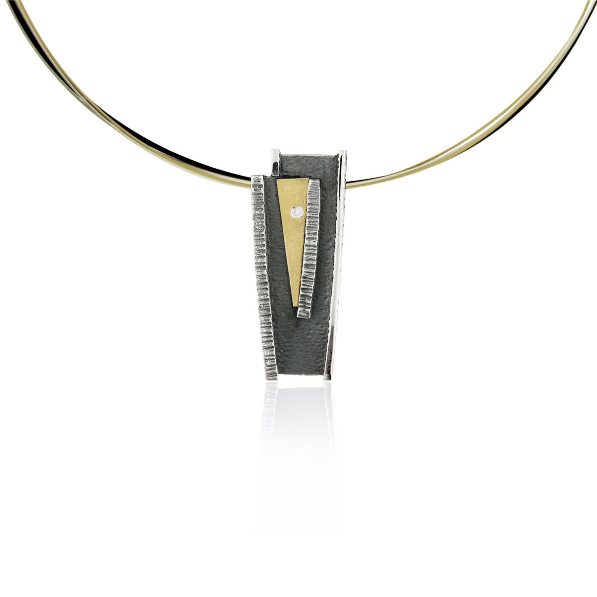 SILVER & GOLD PENDANT WITH DIAMOND