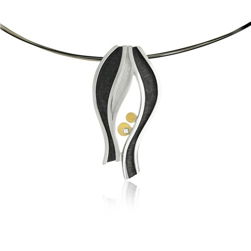 SILVER & GOLD PENDANT w/ DIAMOND. P1802D