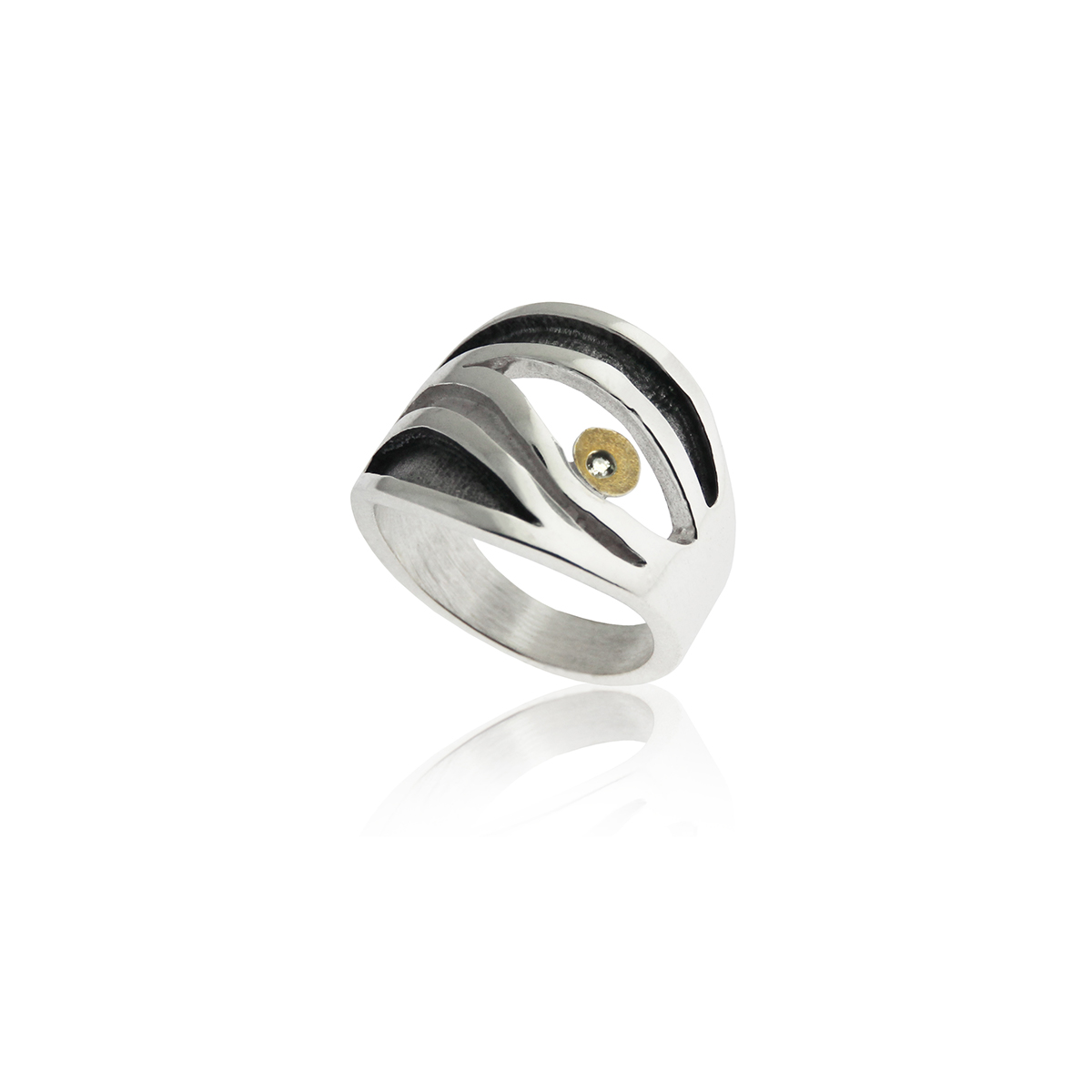 SILVER & GOLD RING w/ DIAMOND. R1802D