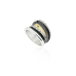 SILVER & GOLD RING WITH DIAMOND. R1932D