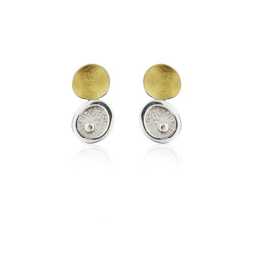 SILVER & GOLD EARRINGS . E1803S