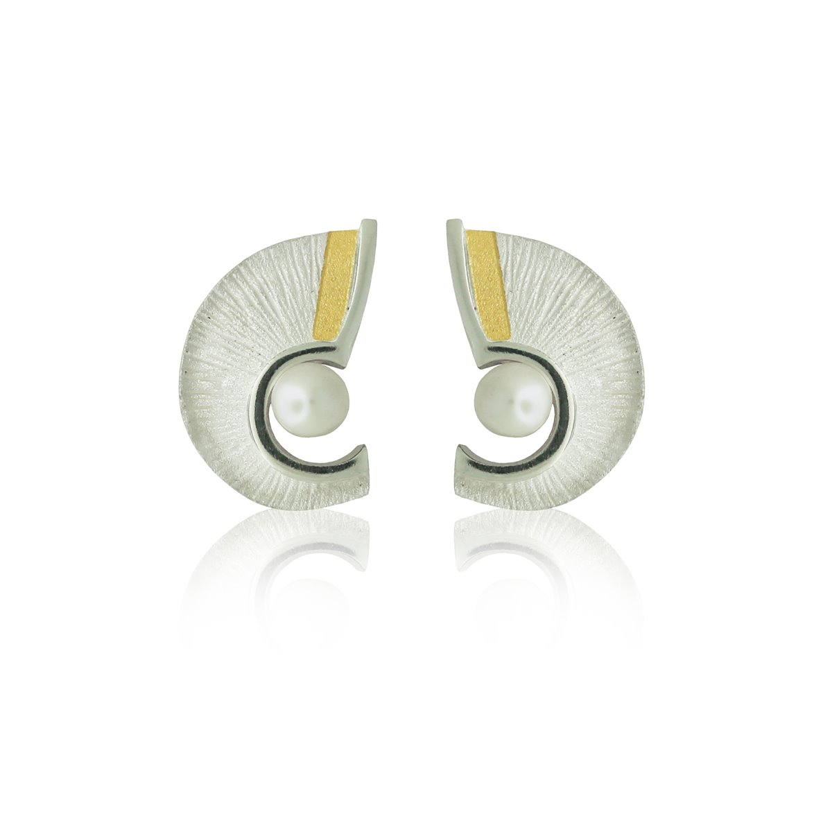 SILVER & GOLD EARRINGS WITH PEARLS