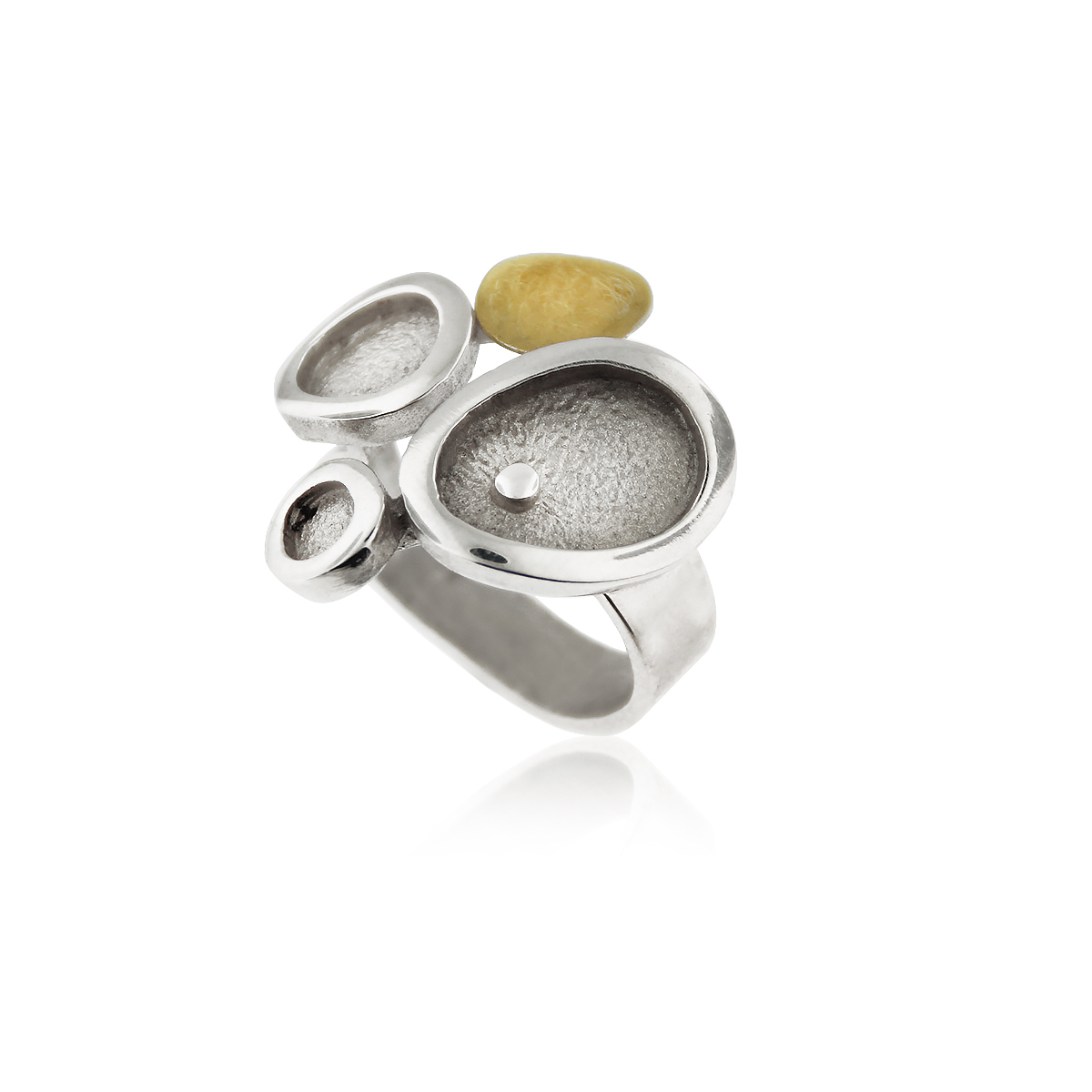 SILVER & GOLD RING . R1803