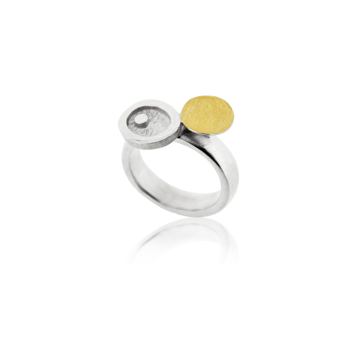 SILVER & GOLD RING . R1803S