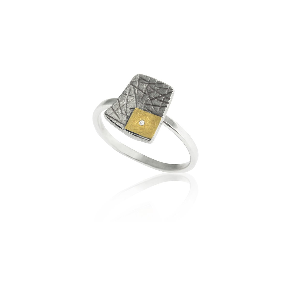 ANELL PLATA I OR AMB DIAMANT. R1804D