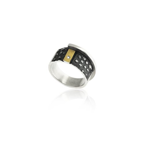 ANELL PLATA I OR AMB DIAMANT. R1806D