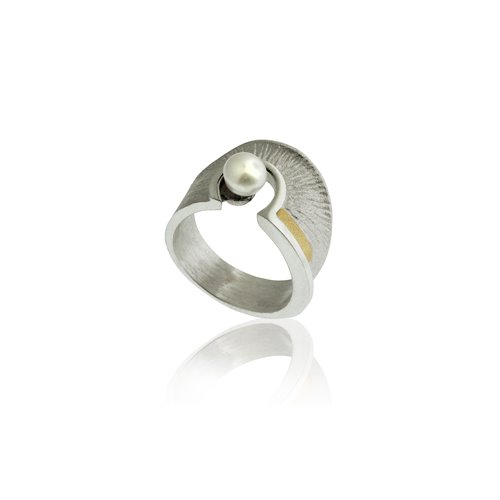 SILVER & GOLD RING WITH PEARL