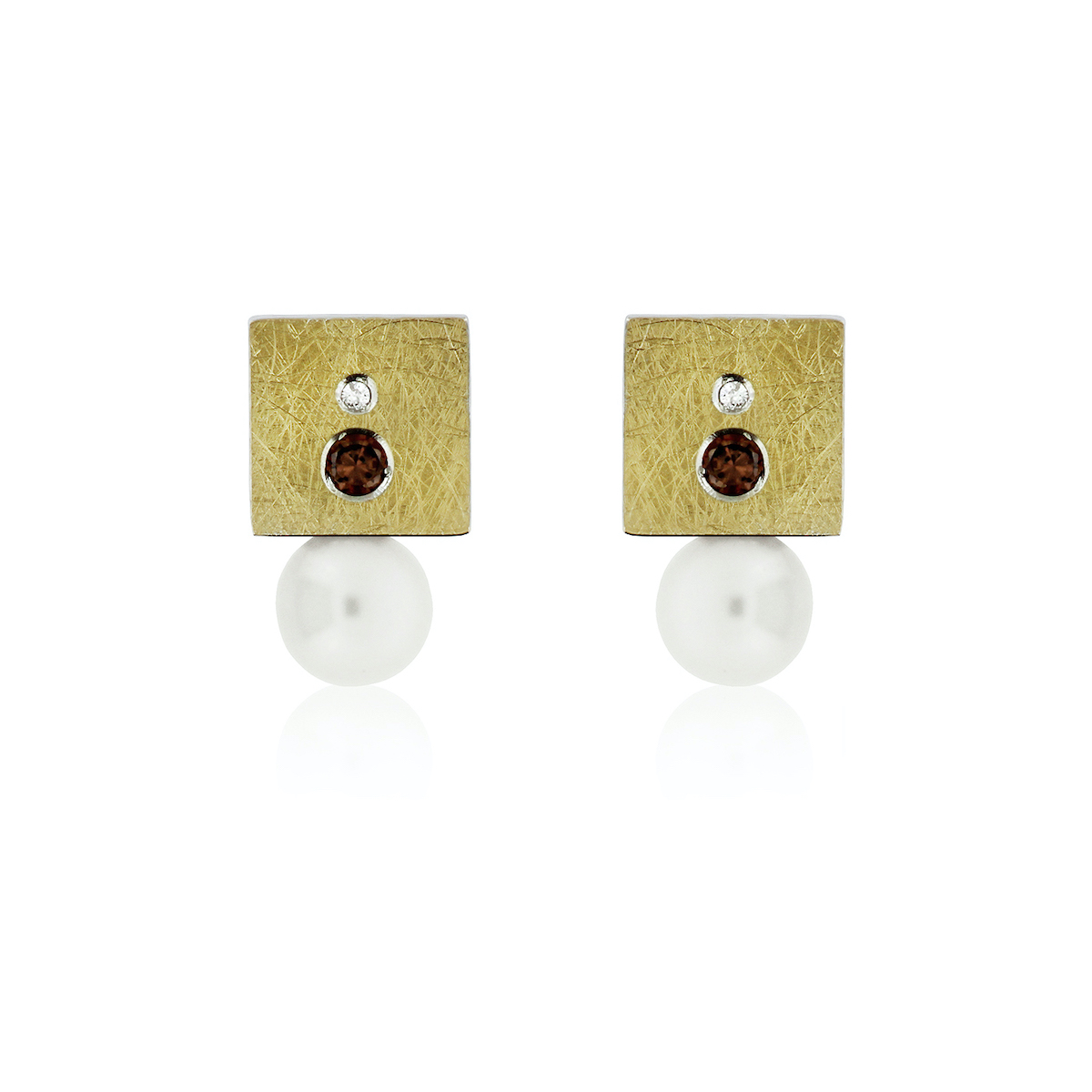 SILVER & GOLD EARRINGS w/ DIAMONDS, COLORED STONE & PEARL. E1828DP