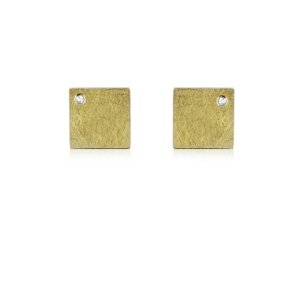 ARRECADES DE PLATA I OR AMB DIAMANTS. E1829D