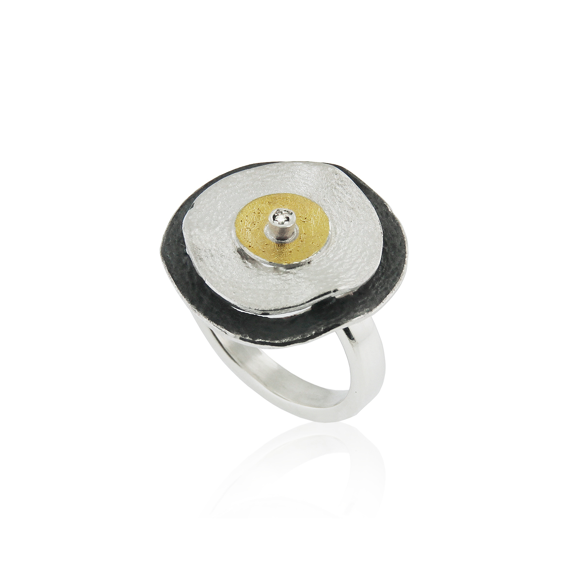 SILVER & GOLD RING WITH DIAMOND