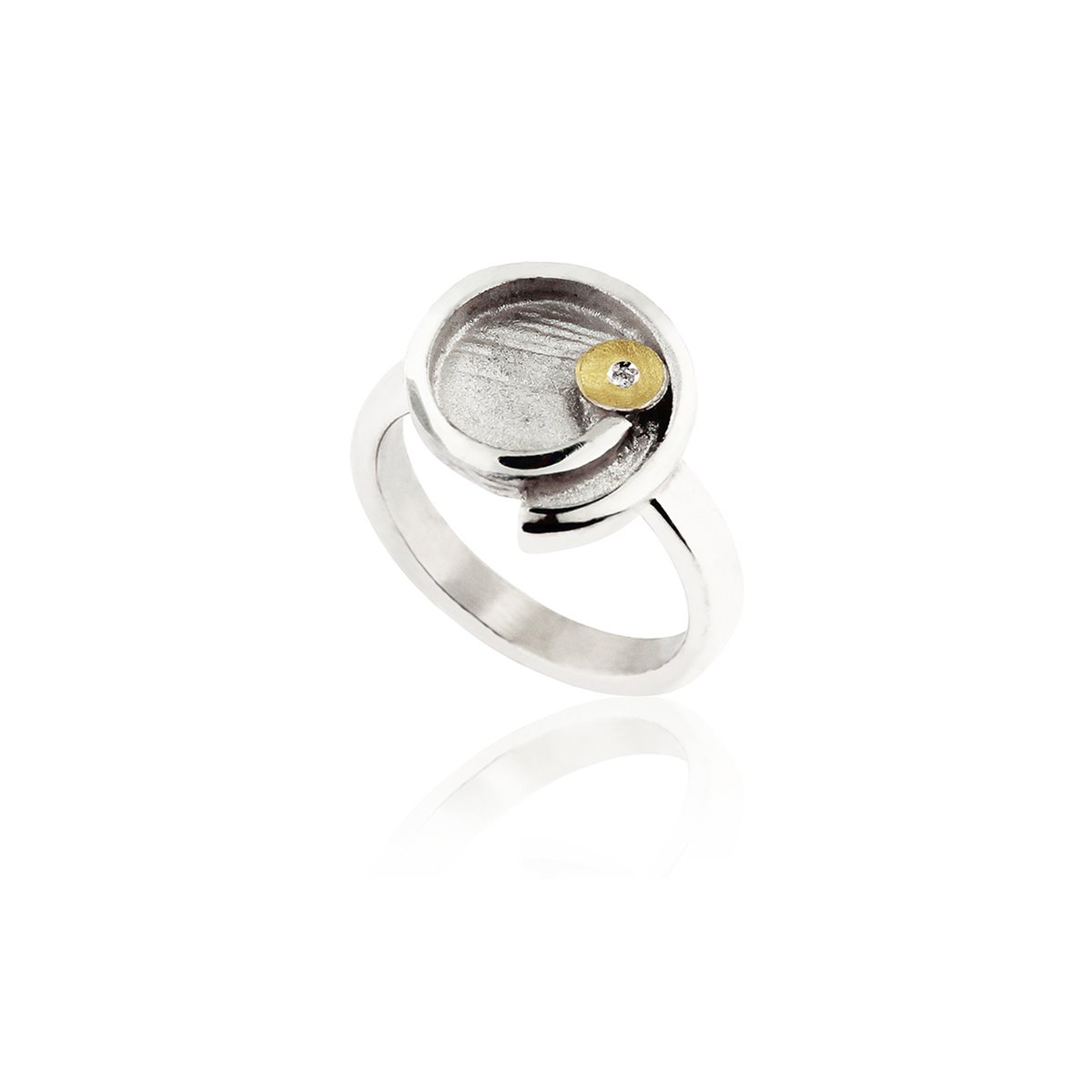 ANELL PLATA I OR AMB DIAMANT. R1900D