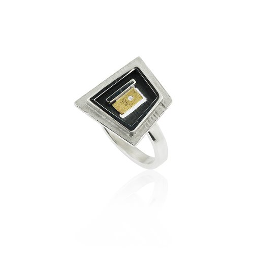 ANELL PLATA I OR AMB DIAMANT. R1902D